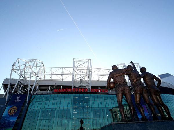 The statues of George Best, Denis Law and Sir Bobby Charlton outside Old Trafford