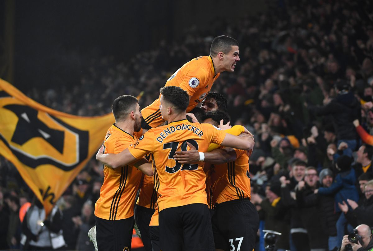 Raul Jimenez of Wolverhampton Wanderers celebrates after scoring a goal to make it 1-1 with Conor Coady of Wolverhampton Wanderers (AMA)