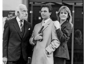 Actors Ernest Clark, Brian Capron and Joanna Hole outside the Grand