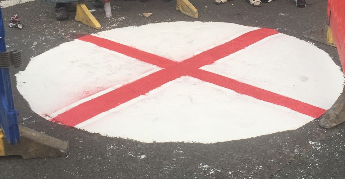 James Wallace sent this photo of a patriotic road in Tiled House Lane, Pensnett