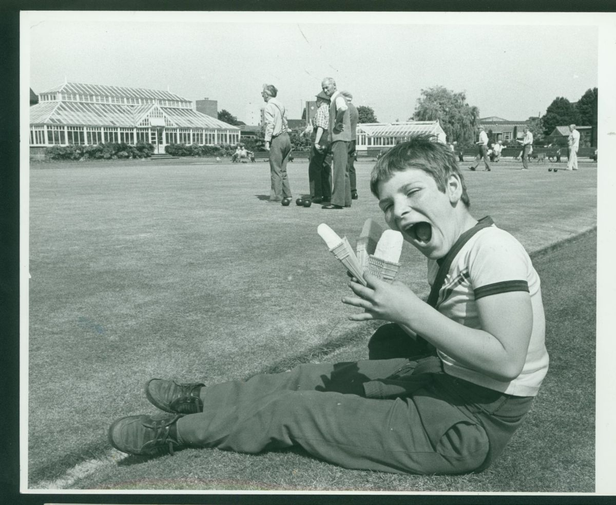 Darren Willetts keeps cool with an ice cream or three at Victoria Park, Stafford, in 1983