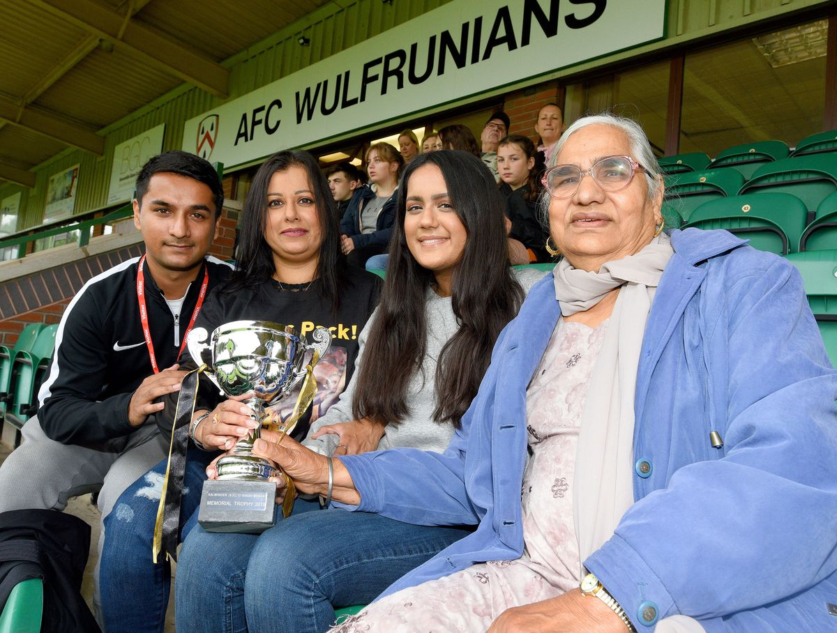 Kalwinder's son Josh, wife Harjinder, daughter Shannon and mum Satwant at the charity match in his memory