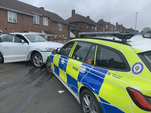 Damage to the stolen Audi Q3 and the police car