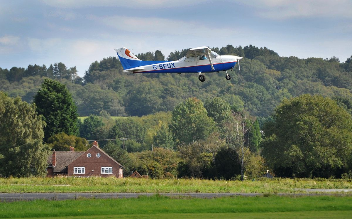 Retired aircraft engineer Alan Cottam takes off for his surprise flight