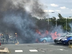 Cars wrecked after fire at Midland Metro stop car park