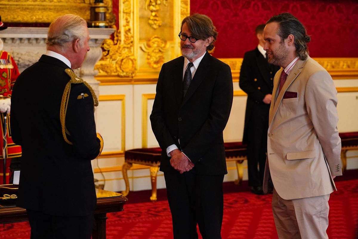 Nigel Slater receives his honour from the Prince of Wales