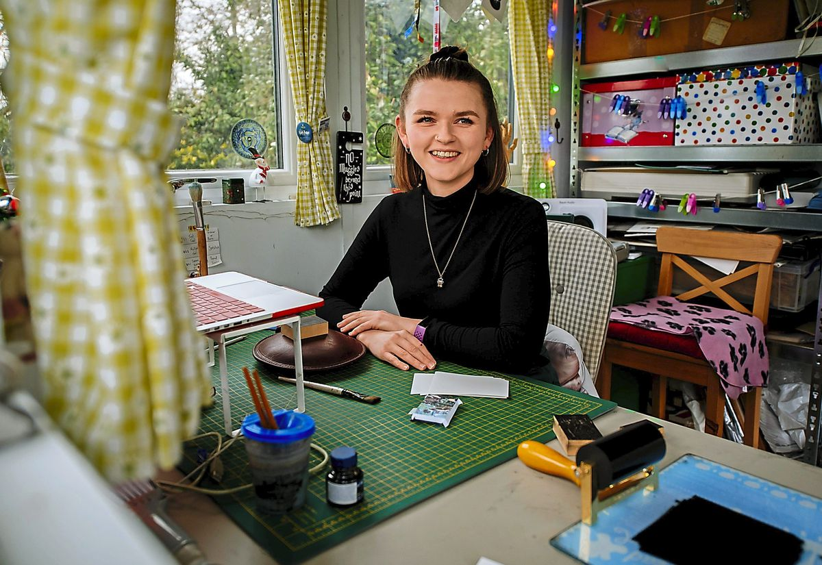 Wood engraver Ellie Cliftlands from Whixall in Shropshire who is helping to keep this ancient craft alive