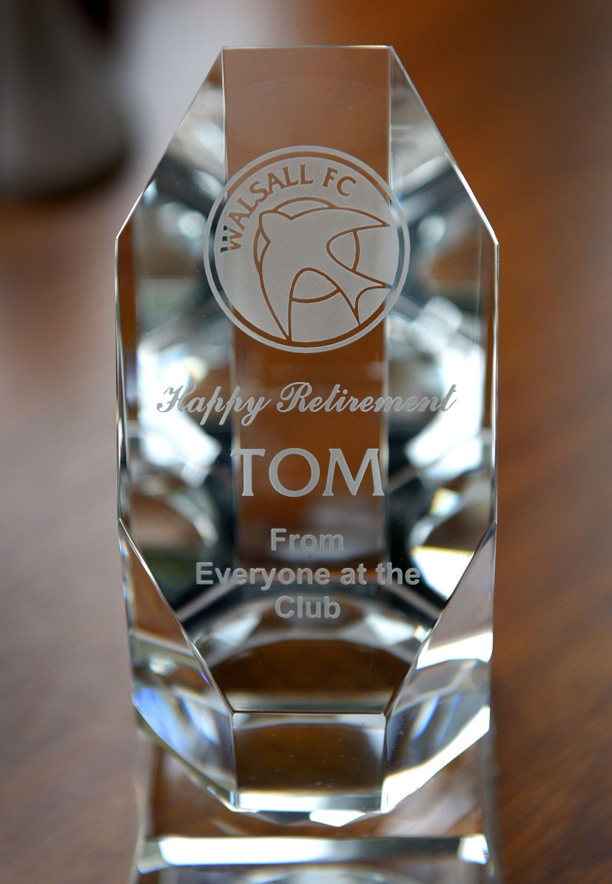 A trophy Tom received from the club.
