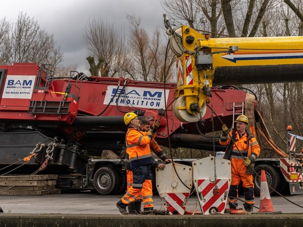 Recovery operation after lorry sheds 100-ton load on Stafford roundabout