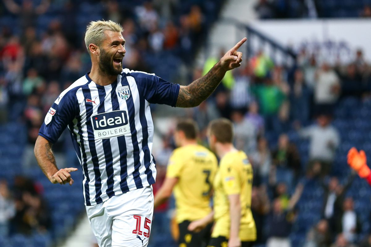 Charlie Austin of West Bromwich Albion celebrates after scoring a goal to make it 1-0. (AMA)