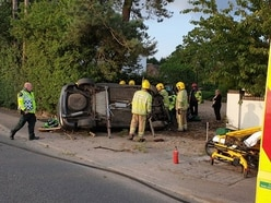 Driver pulled from burning overturned car after A34 crash