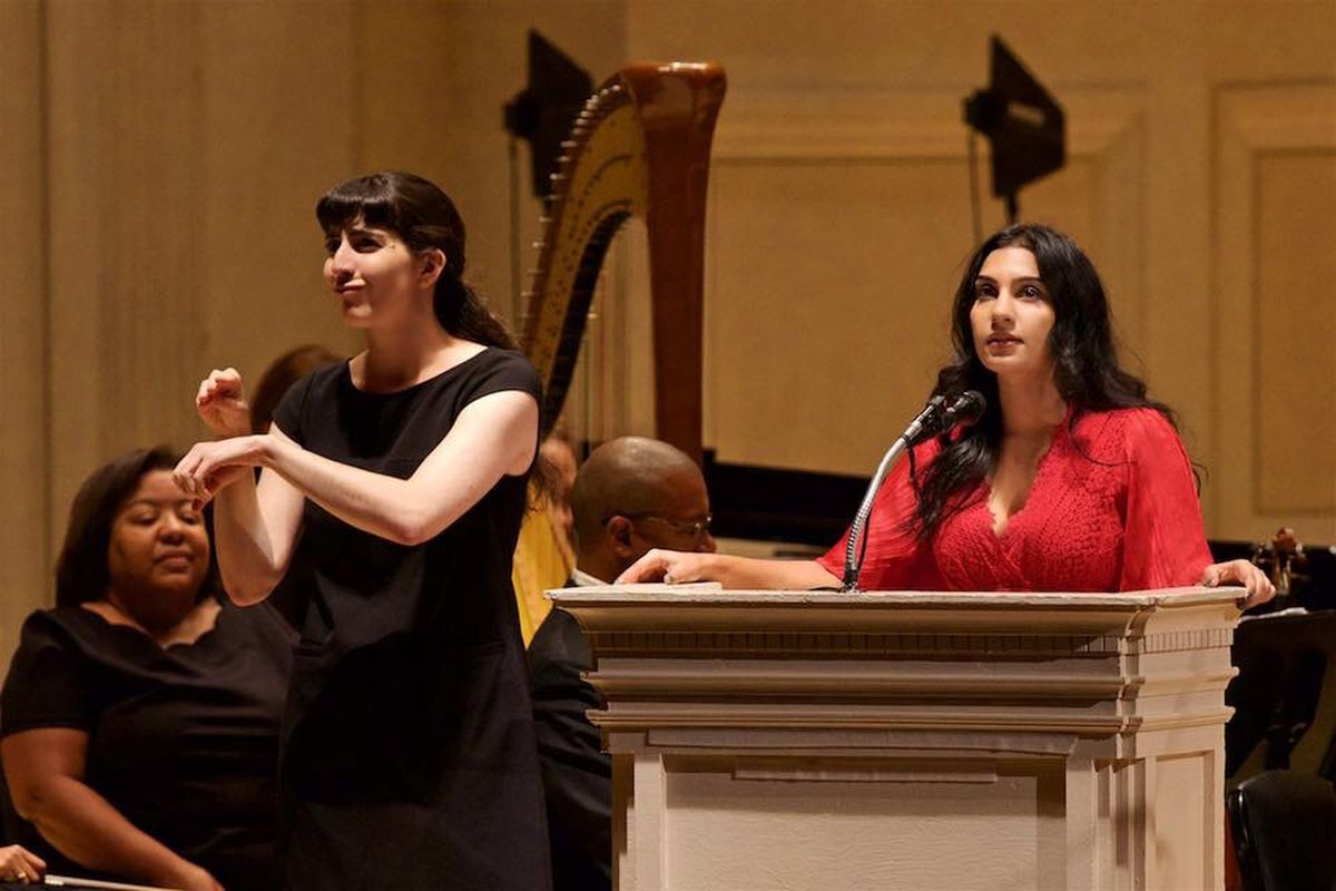 """Karen in Journey to America"""" at Carnegie Hall conducted by Amy Andersson for Orchestra Moderne NYC"""