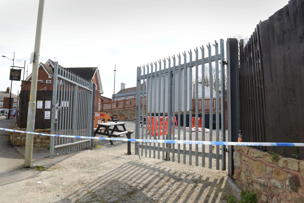 A cordon at the scene in Sedgley
