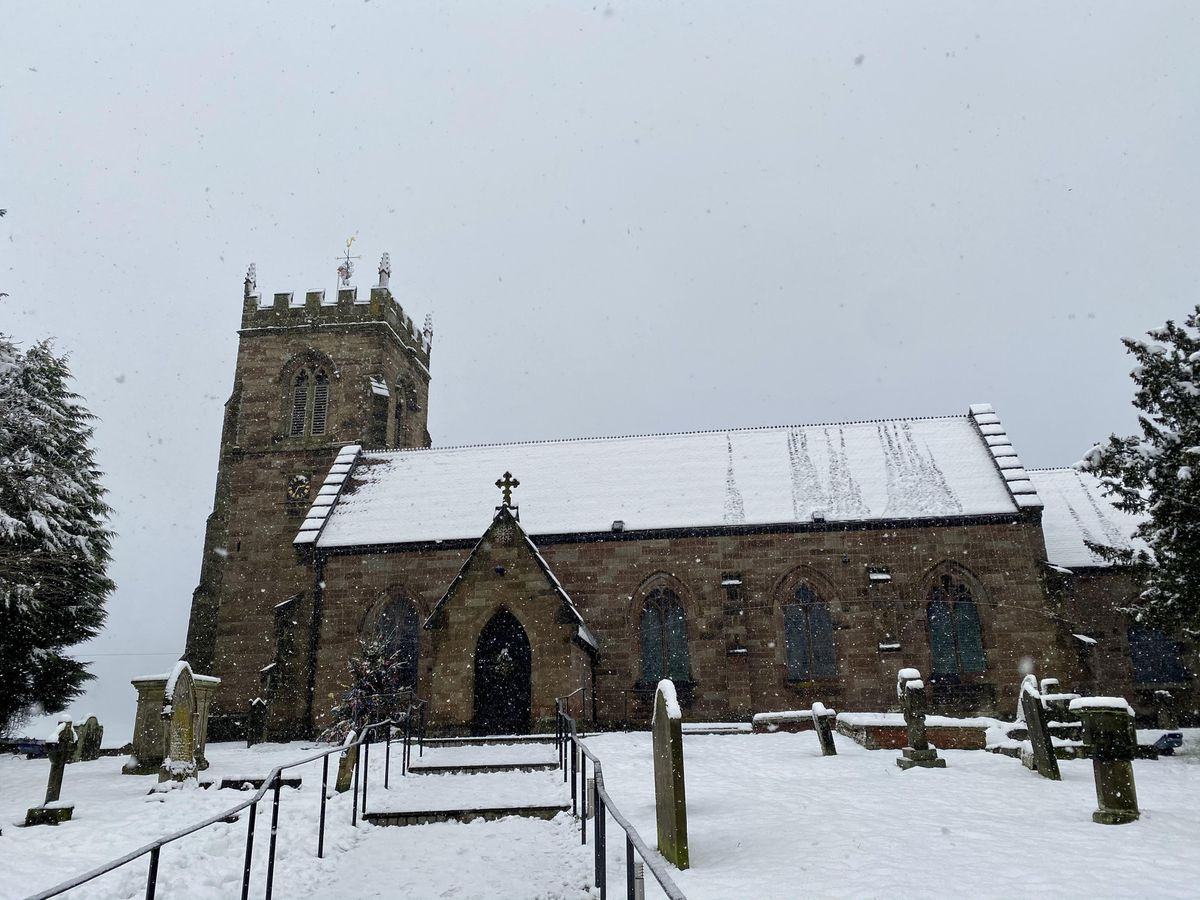 Snow coming down at St Nicholas C Of E Church in Codsall.By Jamie Fletcher.