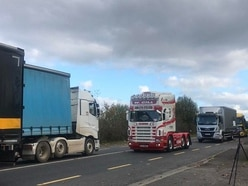More than 150 lorries hold cross-border protest