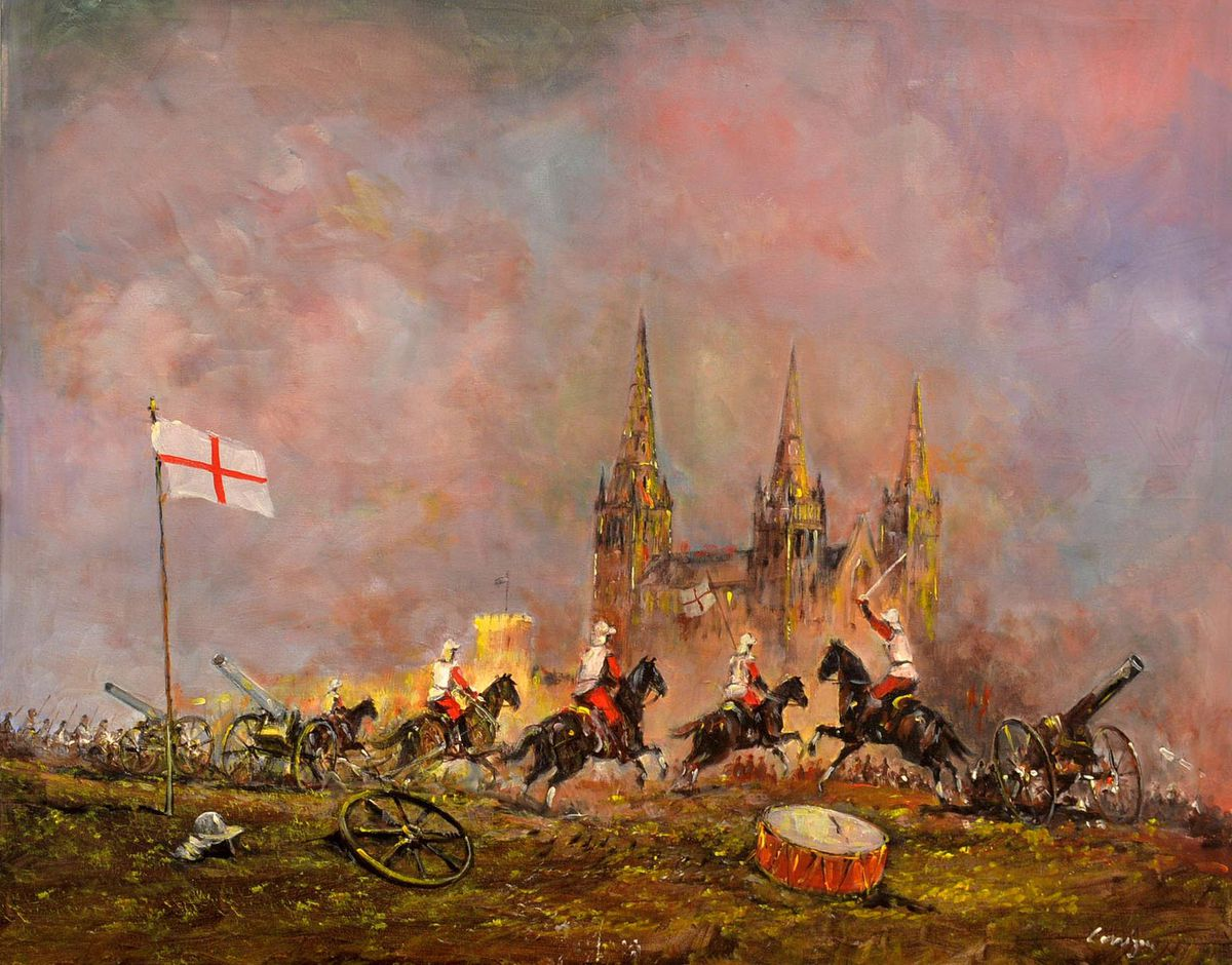 The English Civil War rages around Lichfield Cathedral in this painting