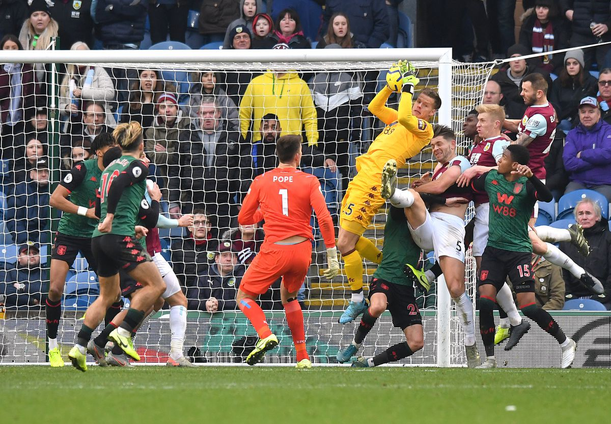 Orjan Nyland catches the ball during Aston Villa's win at Burnley.