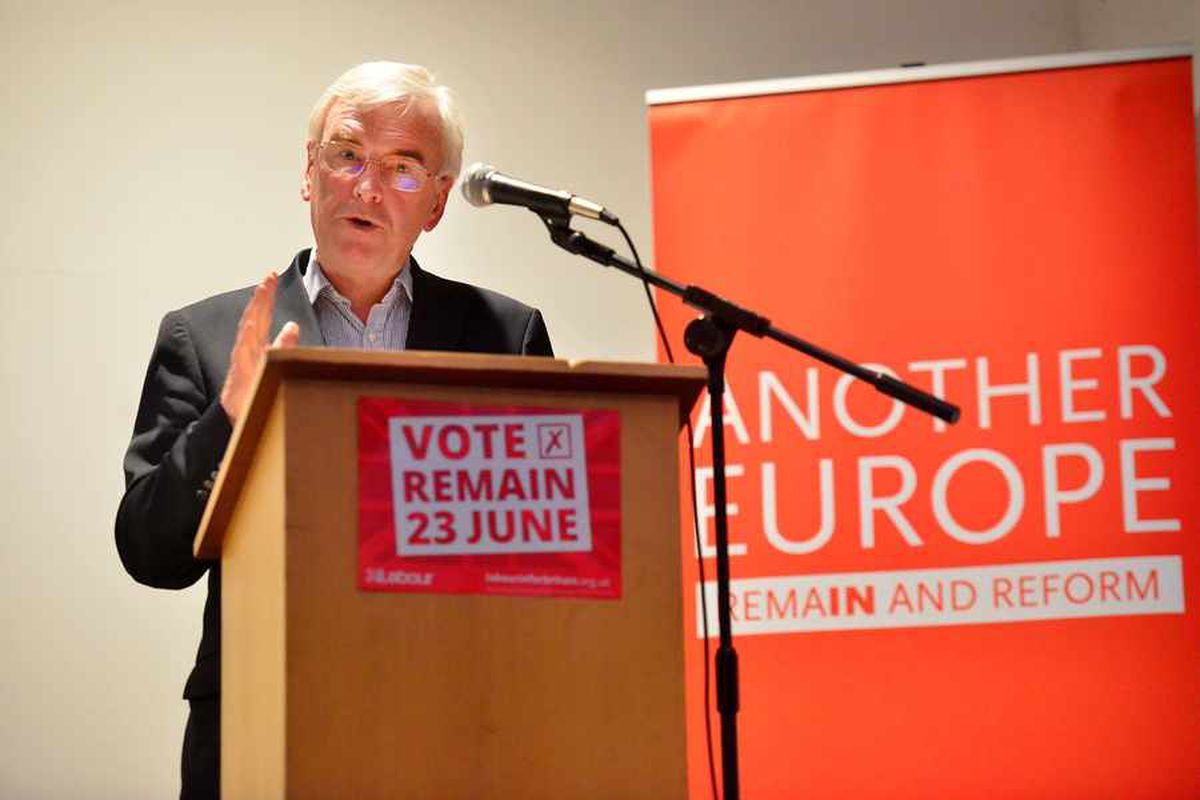 John McDonnell addresses the audience