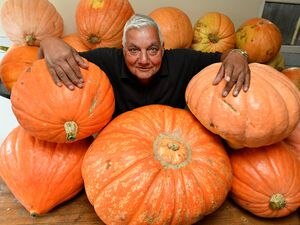 Paul Singh from Smethwick, who has grown a crop of huge pumpkins