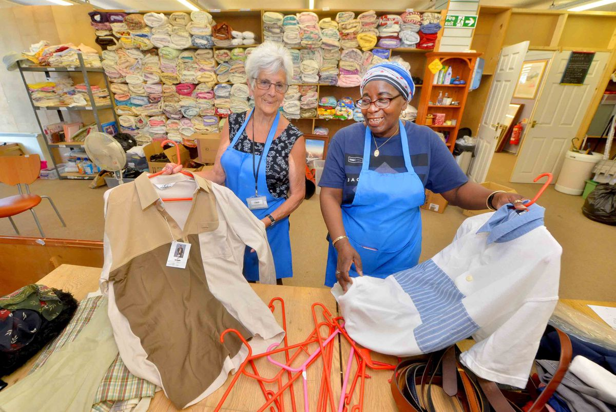 Jean Cox from Oldbury and Donneth Phillips from Quarry Bank, in the sorting room