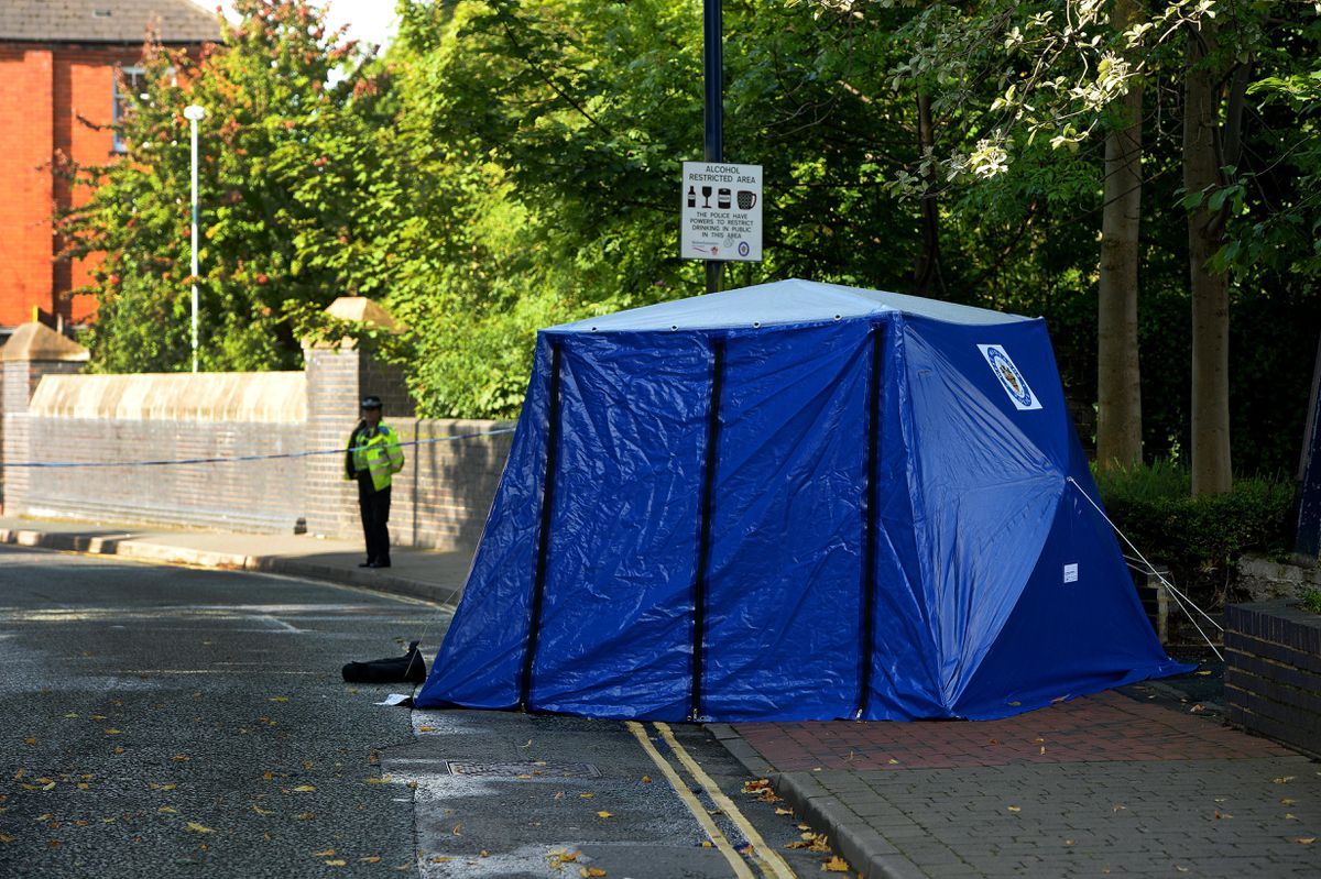 A police tent on Walsall Street