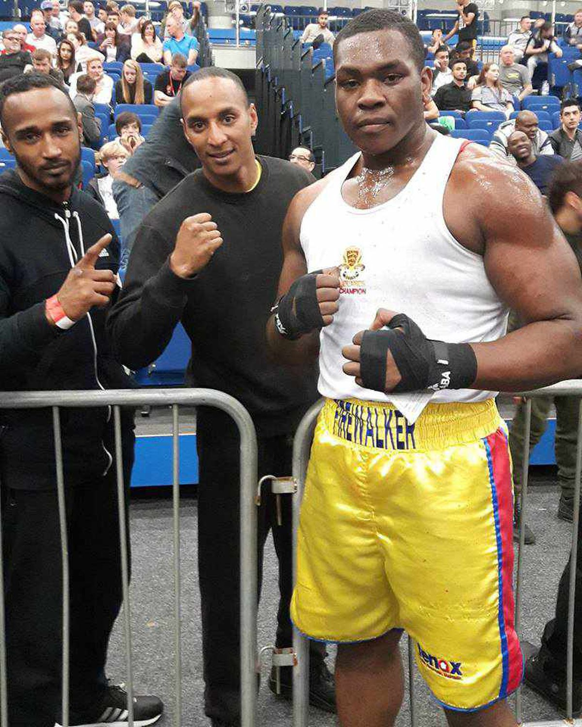Firewalker's Hosea Stewart with his supporters after victory at the Doncaster Dome last weekend.