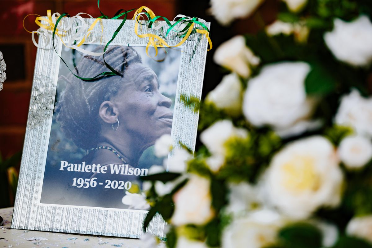 Photos and flowers of Paulette Wilson were displayed during the celebration of her life