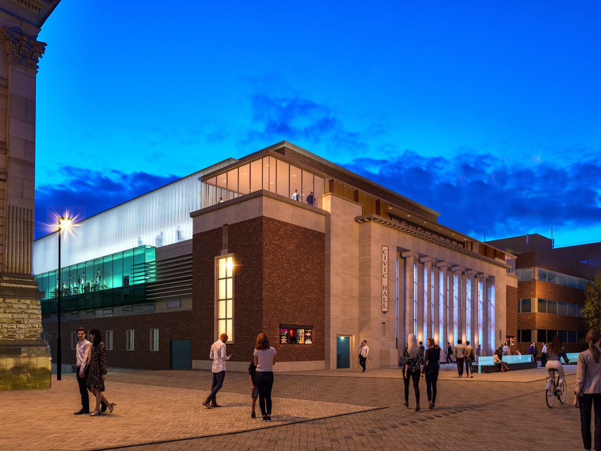 An artist's impression of the new improved Civic Hall in Wolverhampton, complete with a glass facade and roof-level viewing area