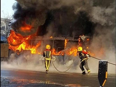 School evacuated as bus bursts into flames in Walsall - WATCH