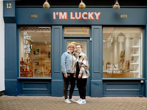 Lucy and Kim Evans outside their shop I'm Lucky