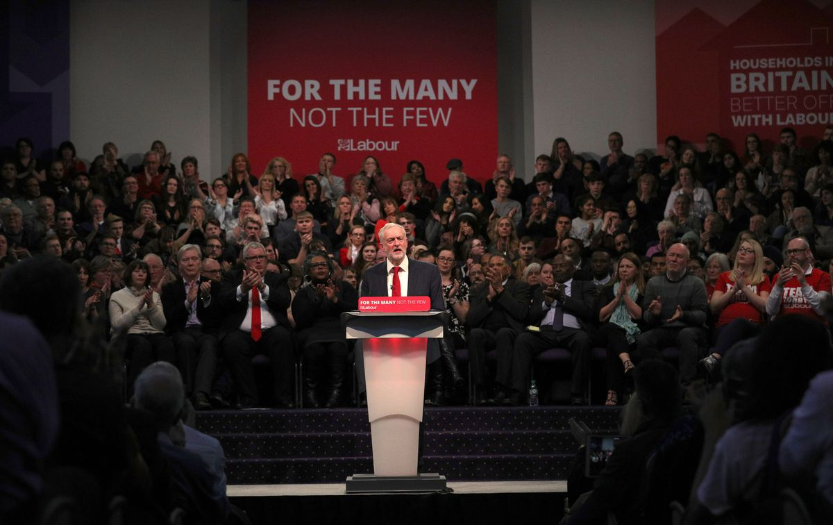 Labour party leader Jeremy Corbyn addresses a post-Budget rally at the Bethel Convention Centre, West Bromwich