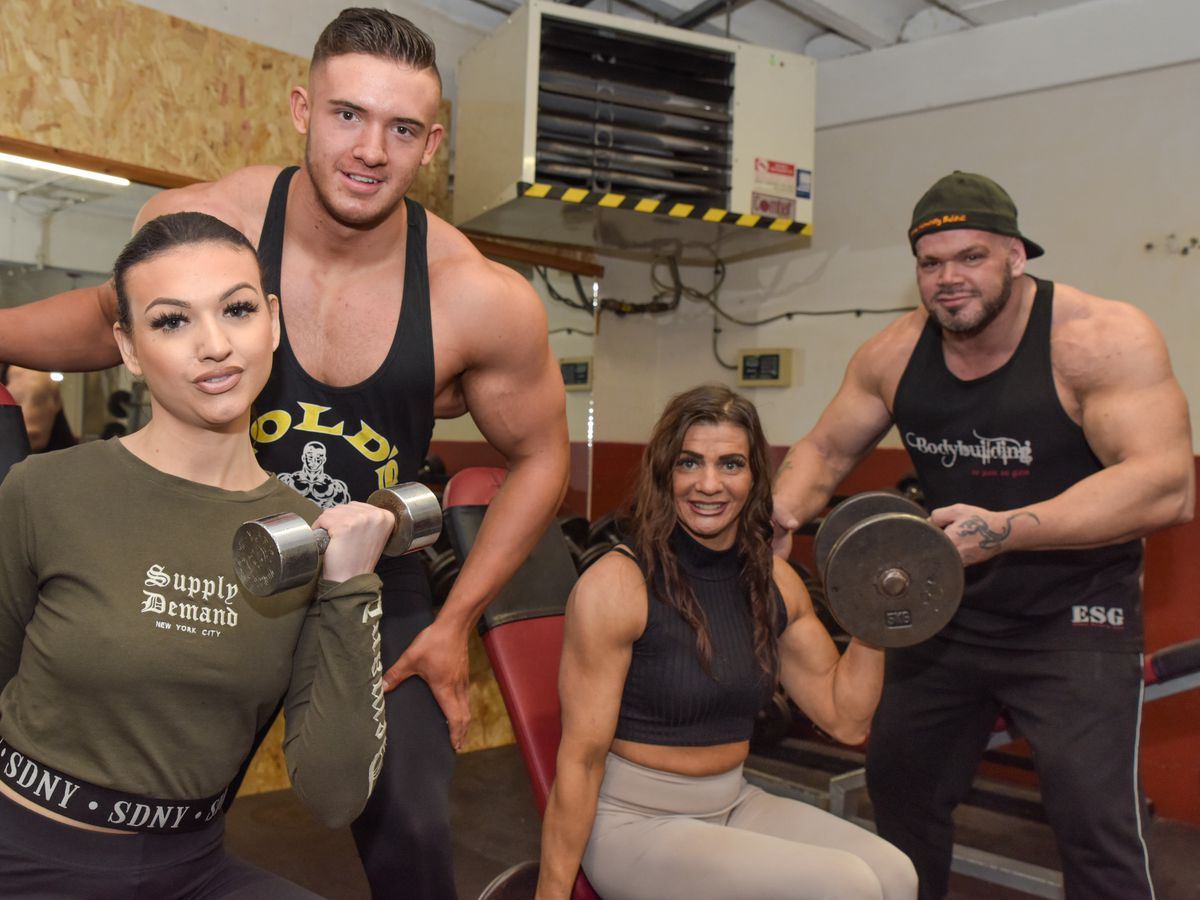 Beauty pageant winner Sacha, left, with her boyfriend Jack Jones and mother and father Alison and Bryn who are keen body-builders