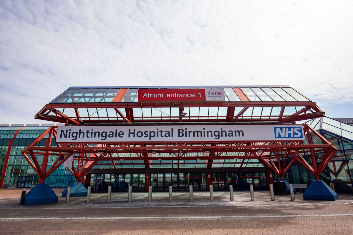 The new temporary NHS Nightingale Birmingham Hospital at the NEC in Birmingham. Photo: Jacob King/PA Wire