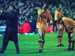 Graham Taylor applauds the Wolves fans at Burnden Park alongside a dejected David Kelly, Steve Bull and Gordan Cowans following the heartbreaking play-off semi-final defeat to Bolton