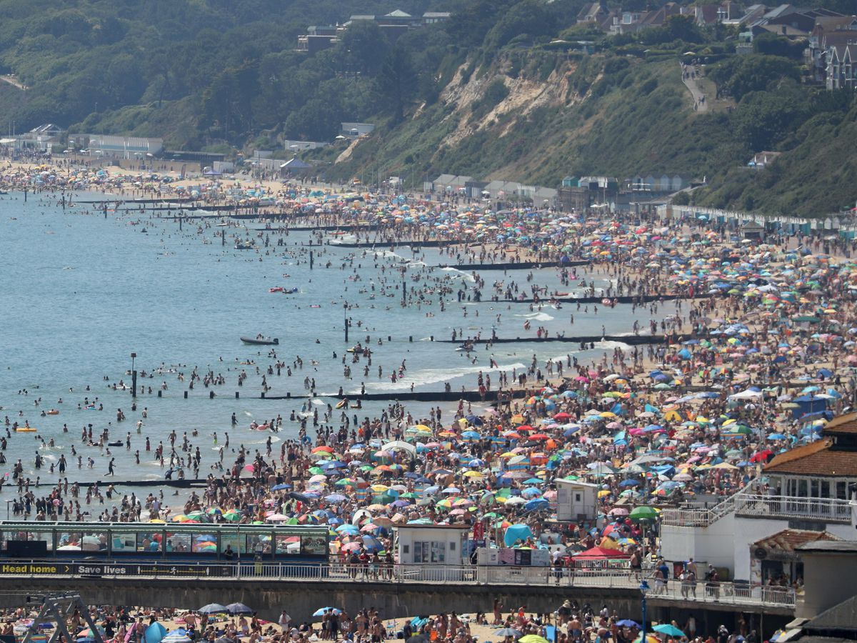 Crowds on the beach in Bournemouth on Thursday