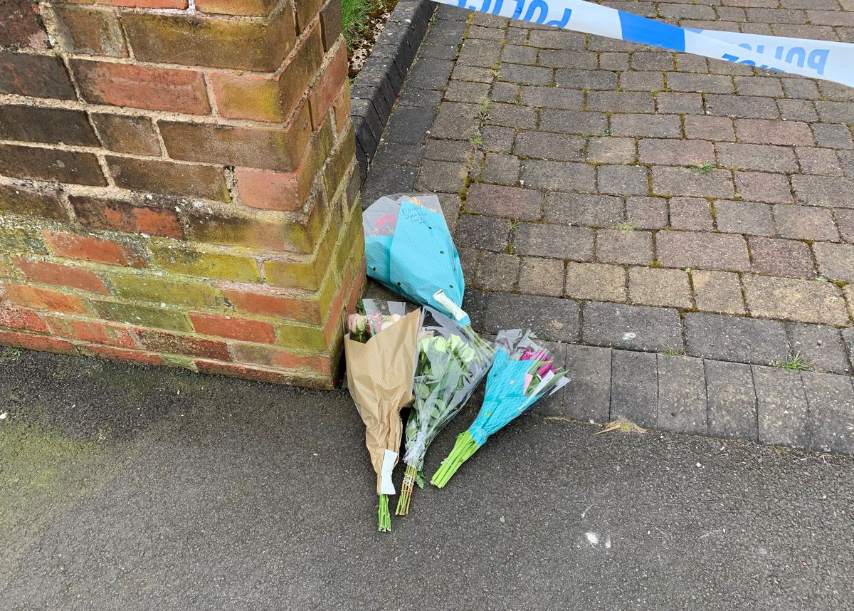 Floral tributes left at the scene of the dog attack