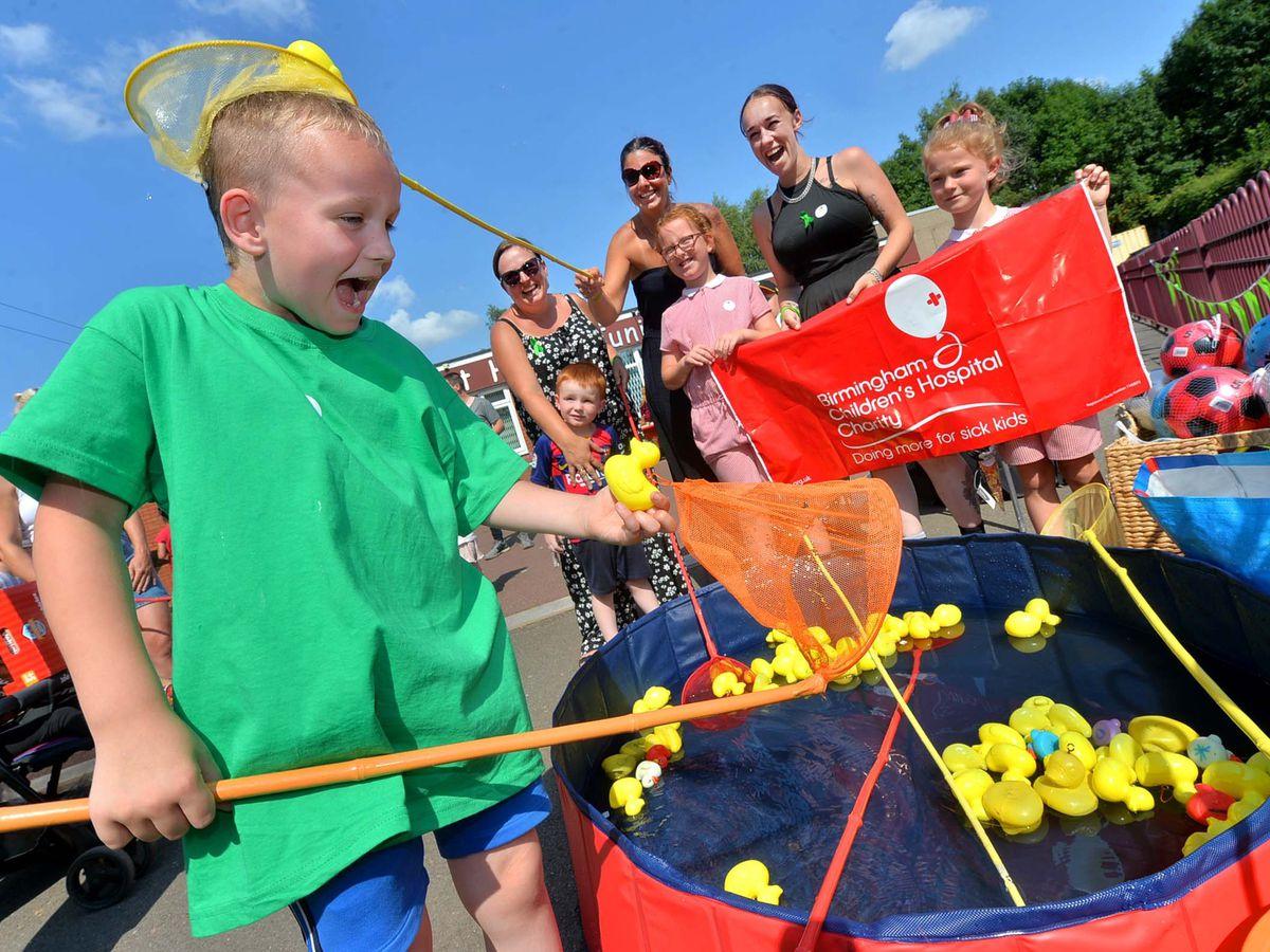 Harvey Hack at Short Heath Junior School fundraising fete, raising money for Birmingham Children's Hospital