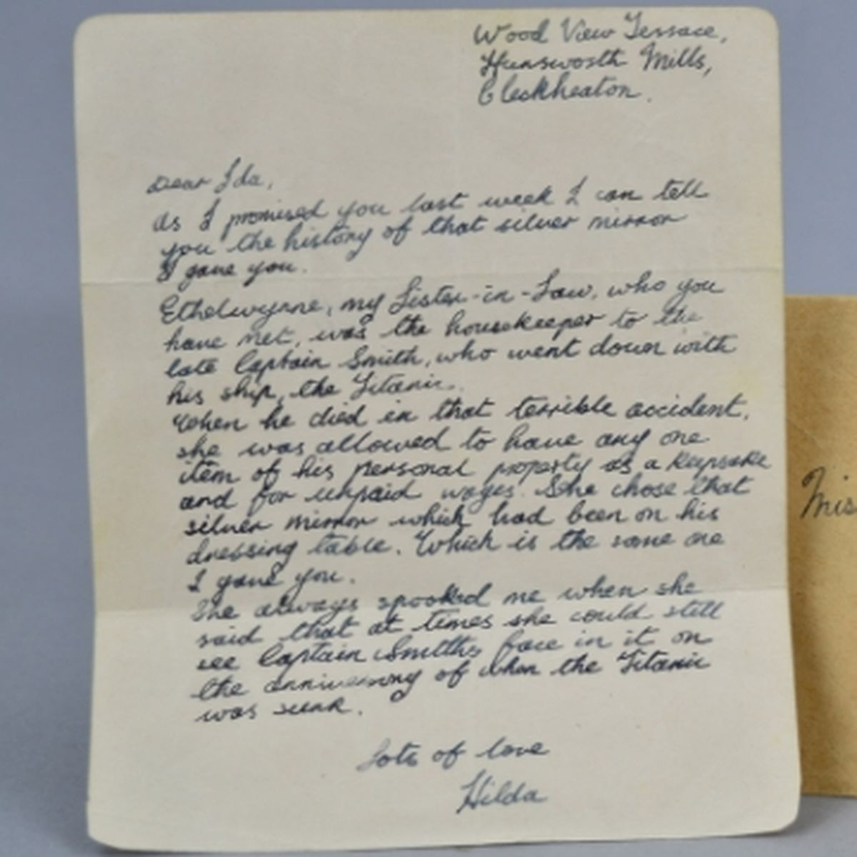 The letter explaining the mirror's importance