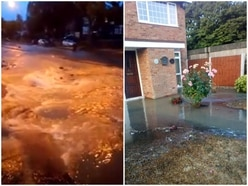Burst pipe floods A4123 with water near Burnt Tree - PICTURES and VIDEO