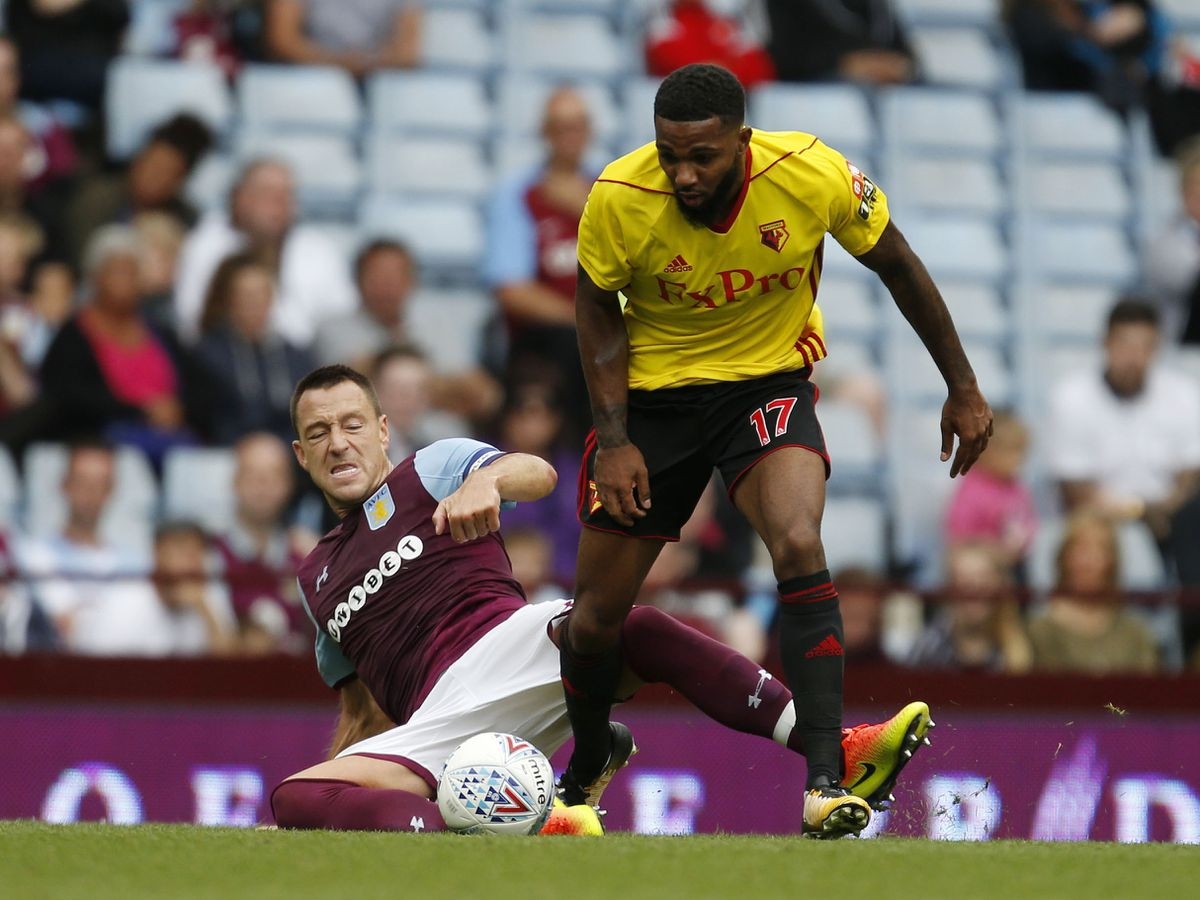 Aston Villa's John Terry (left) and Watford's Jerome Sinclair