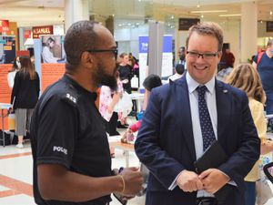 Mike Wood MP with PC Delmar Brown at the 2021 Jobs and Skills Fair.