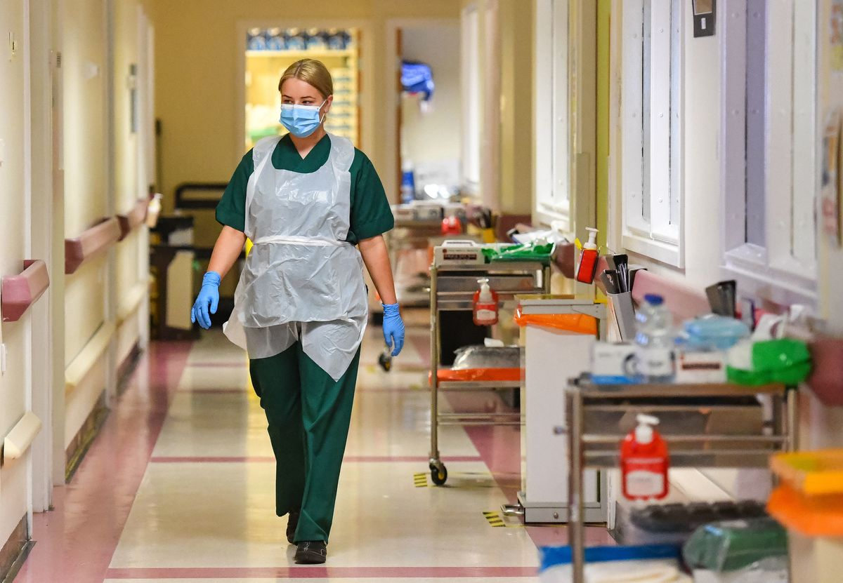 Medical staff on the Covid-19 ward at the Neath Port Talbot Hospital, in Wales