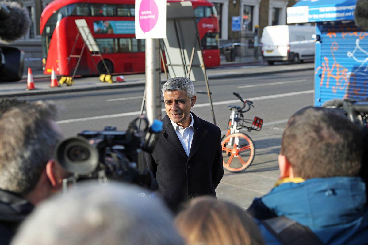 Mayor of London, Sadiq Khan, speaks to the press on London Bridge in central London. Credit: Steve Parsons/PA Wire
