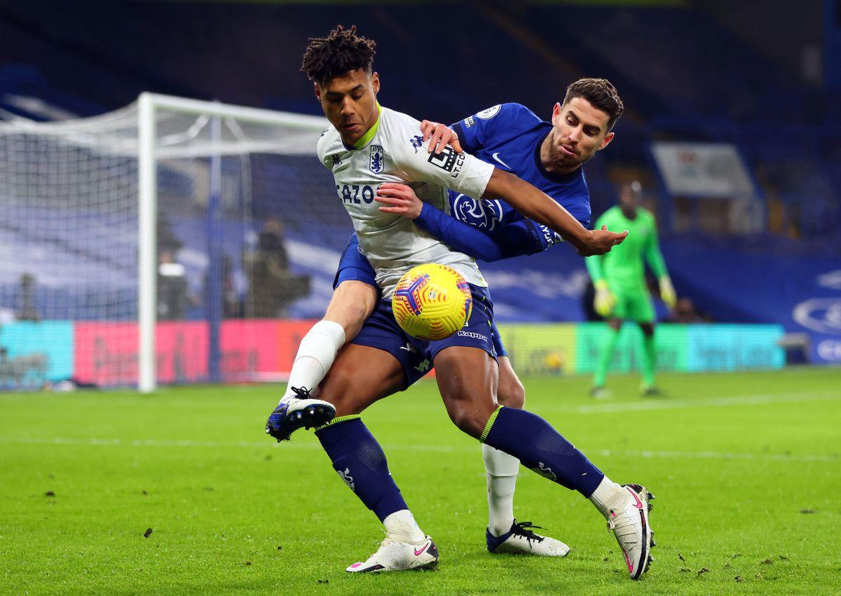 Aston Villa's Ollie Watkins and Chelsea's Jorginho