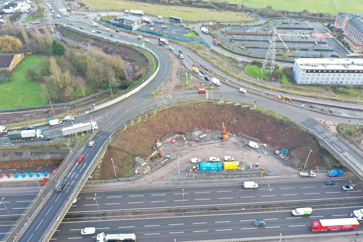 Looking east towards Walsall, this image shows work under way to widen the A454 approach to the roundabout.