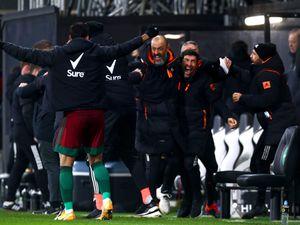 Nuno Espirito Santo celebrates Wolves' late winner at Fulham.