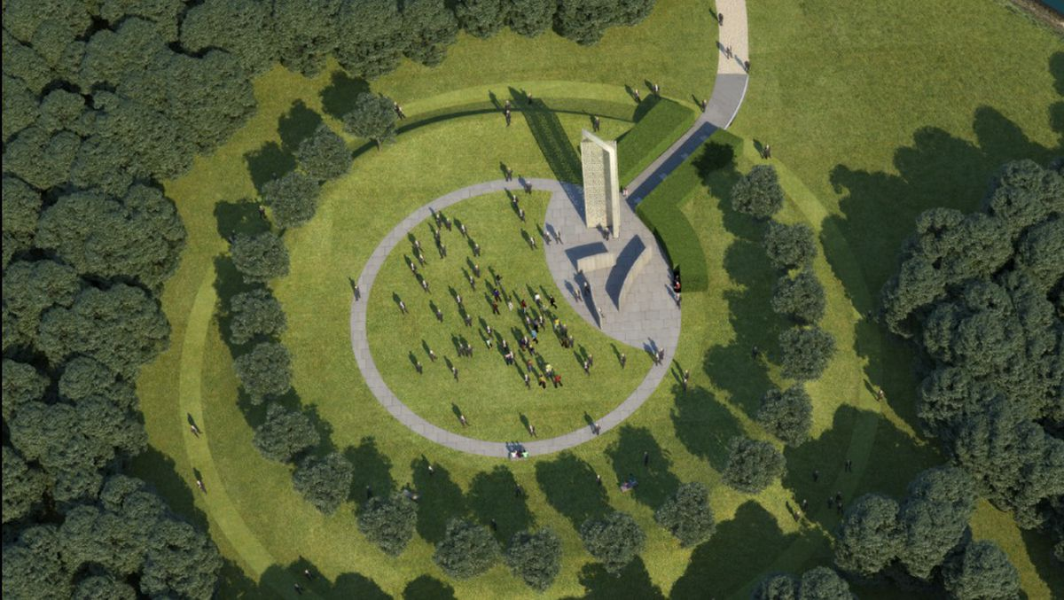 An artist's impression of what the new UK Police Memorial to be built at the National Memorial Arboretum in Staffordshire could look like