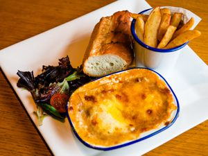Pasta master – lasagne with chips, garlic bread and saladPictures by Jamie Ricketts