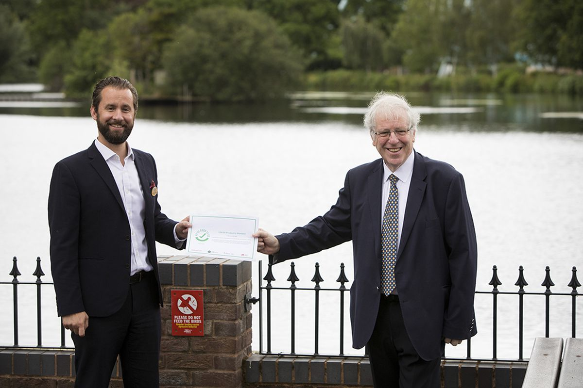 Drayton Manor Park's George Bryan (left) receives the 'We're Good To Go' certificate from Sir Patrick McLoughlin
