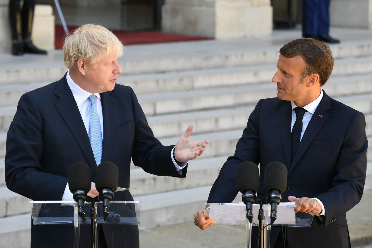 Prime Minister Boris Johnson with French President Emmanuel Macron at the Elysee Palace in Paris on Thursday ahead of talks to try to break the Brexit deadlock